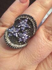 genuine Tanzanite, black Spinel sterling silver ring