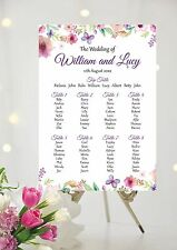 Wedding Table Plan / Seating Plan Floral Butterflies Flowers All Colours