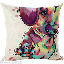 Painted DACHSUND DOG Sausage dog DOG LINEN-COTTON Bright CUSHION COVER, GB Sale