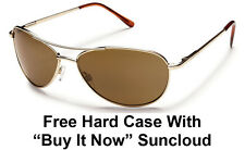 Suncloud Patrol Sunglasses - Gold Metal with Brown Polarized + Free Hard Case