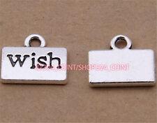 P1602 50pc Retro Tibetan Silver letter wish Charm Bead Pendant Jewellery Making