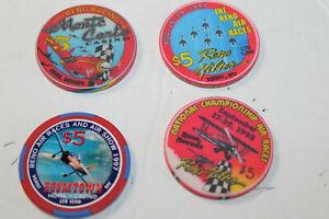 Four  Air Race Casino Chips (4):  MONTE CARLO, BOOMTOWN. RENO HILTON, HILTON   :