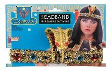 Egyptian Headband With Snake Gold Jeweled Elasticized Head Wreath With Cobra