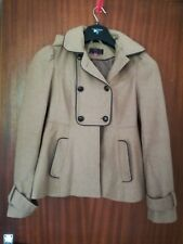 New Look Ladies beige tan winter duffle coat jacket size 8.