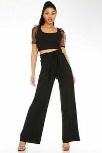 """BNWT Quiz Black Shine Tie Waist Palazzo Trousers Size 10 L32"""""""