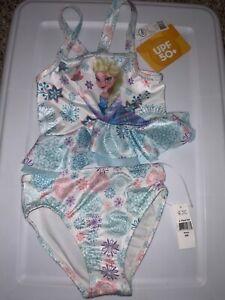 Disney Frozen Blue Elsa /& Anna 3-Piece /& Goggle Swimsuit Little Girls Sz 6X