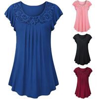 Women Lace Patchwork Blouse Ladies Solid Short Sleeve Ruched Tops Shirt Pullover