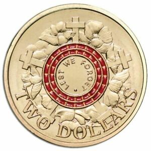 2015 $2 UNC Lest We Forget Remembrance Day 5 Coin Red Mint Bag - R.A.M. Issue.