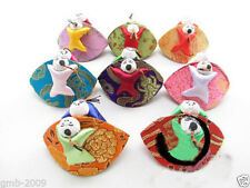 10PCS Mix Colors Chinese Handmade Silk With Two Cute Kids Jewelry Ring Box Bags