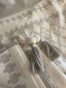 Opalhouse Printed Gray Tassel Trim Shower Curtain 72x72 Nwot