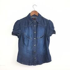Vtg Oasis Blue Denim Jean Shirt Shortsleeve Western Cowgirl Rodeo Modern 8 10 UK
