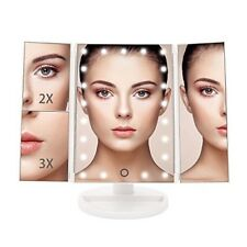 TriFold Illuminated Vanity Makeup Mirror, with 21 LED LIGHTS 180° Adjust