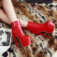 💝💝PROMO! Boots Sexy Cuir Vernis Zip Haut Talon Aiguille 15.5 cm! P37 NEUVES!