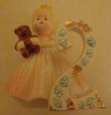 Josef Originals Angel Birthday Girl 2nd Year Ceramic Figurine Brown Eyes Blonde