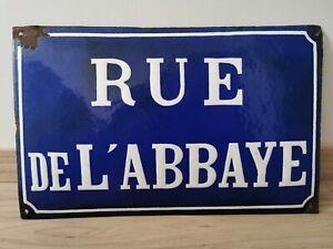 Antique religious french convex enamel street sign 1920 Abbey street