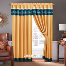 4-Pc Scroll Embroidery Striped Curtain Set Gold Blue Beige Valance Drape Sheer