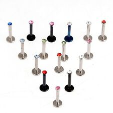 15pcs Wholesale Body Jewelry Mix Lots Rhinestone Surgical Steel Lip Piercing HU