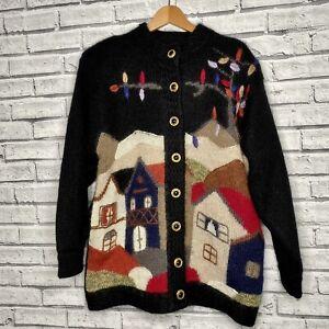 Vintage Mohair Wool Cardigan Black Fluffy Kitsch Cottagecore XL