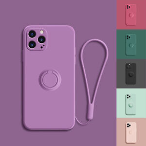 Shockproof Silicone Ring Case Stand Lanyard Cover for iPhone 12 Pro Max 11 XR XS