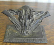 antique iron cow head and rifle decoration desk top FLAG HOLDER BASE