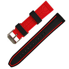 Black Red Rubber Sport Wrist Strap Stripe Color Splicing watch band 20mm-26mm
