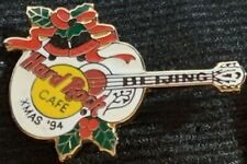 Hard Rock Cafe BEIJING 1994 Christmas White Guitar PIN - HRC Catalog #1127