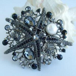 Vintage Starfish Brooches Pins Pearl,Black & Diamond 4.30 Ct 14K Black Gold Over