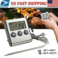 LCD Digital Cooking Food Meat Thermometer With Probe For Smoker Oven BBQ Grill