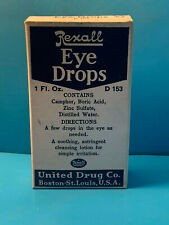 Vtg Drug Store Pharmacy Rexall Eye Drops Clear Glass Bottle In Orignial Box