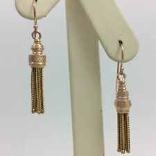 14K YELLOW AND ROSE GOLD DANGLE HOOK EARRINGS