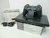 Slim PS2 Sony Playstation 1 Console + 5 Games Bundle - Tested GWO SCPH-75003