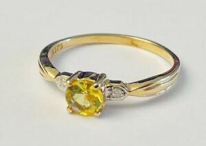 Harry Ivens Ring GG 375 mit Goldberyll & Brillanten, Gr 18
