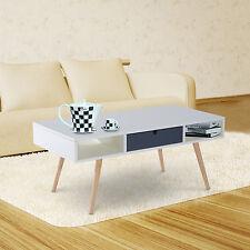 HOMCOM – Tavolino Moderno per Soggiorno in Legno 100x5 x43cm Bianco
