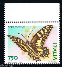 ITALIA UN FRANCOBOLLO ANIMALI FARFALLE PAPILIO HOSPITON 750 LIRE 1996 nuovo**