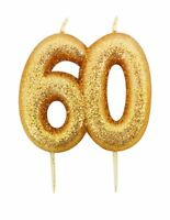 9cm Gold Glitter Number 60 Candle 60th Birthday Party Cake Decoration Supplies