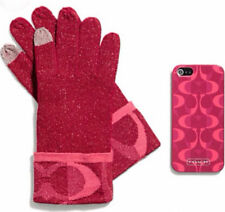 NIB New Coach Boxed Apple iPHONE 5 Case with Touch Gloves Pink Scarlet