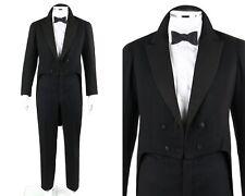 Vtg Frank Sinkler c.1920's 2 Pc Black Wool Tailcoat Jacket Pants Suit Tuxedo Set