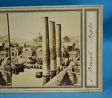 1860s Italy Stereoview Photo Temple Of Jupiter Naples Early Manuscript Title