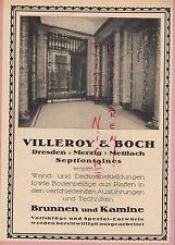 DRESDEN MERZIG METTLACH, Werbung 1914, Villeroy & Boch Brunnen Kamine
