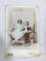 Antique Cabinet Card Photo of 2 Children Brother & Sister? Fancy Clothes