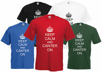 Keep Calm And Canter On T-Shirt Horse Riding Unisex Tee Mens Womens Ladies Girl
