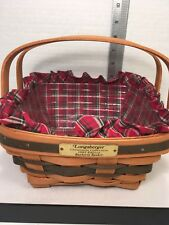 LONGABERGER BAYBERRY BASKET Christmans Collection1993 w/ Protector & Liner EUC