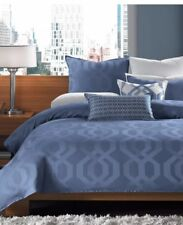 "Hotel Collection Cal King Hexagon Bedskirt 16"" Drop - Blue  NIP"