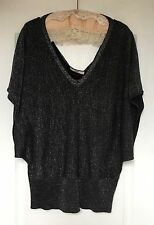 """""""Oasis"""" Batwing Glitter Top, Size M, Black/Silver, Stretch Knit, Exc Condition"""