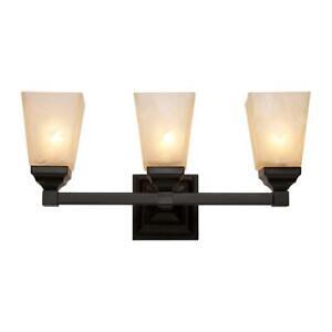 Bel Air Lighting Hanna 3-Light Black Bath Light with Marbleized Shades 20333 BK