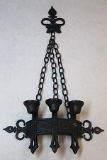 1967  Medieval Castle Metal Wall Hanging Candle Holder Gothic Sconce Kitch Retro