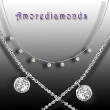 """1.54 ct 0.22 cts each G VS2 round diamond dangling by the yard necklace gold 16"""""""
