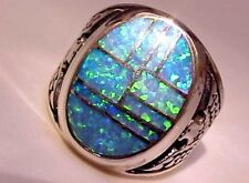 HUGE Fire Opal mens ring 10  Blue Green Silver 925 Thunderbirds Sterling 925