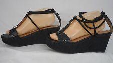 Corso Como Black Leather Ankle Lace-Up Cork Platform Wedge Sandal Women Size 9 M
