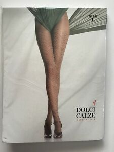 Italian Tights Dolci Calze Patterned Black On Brown Animal Print Tights Size Lge